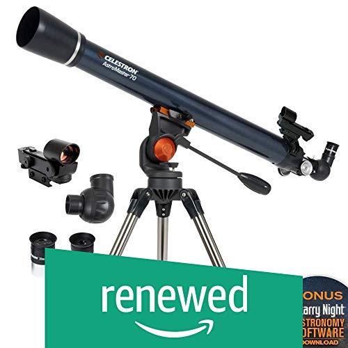 Celestron - AstroMaster 70AZ Telescope - Refractor Telescope - Fully Coated Glass Optics - Adjustable Height Tripod – BONUS Astronomy Software Package (Renewed)
