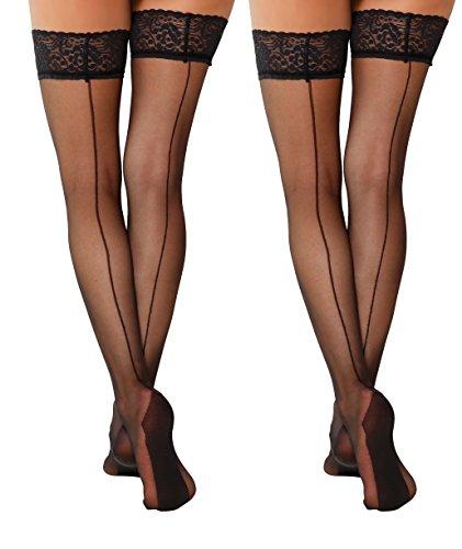 Yenita 2 Paar Elegante Halterlose Nahtstrümpfe mit Spitze 15 Den, Schwarze Strapse mit Rücknaht (L/XL, Schwarz - 2er Pack)