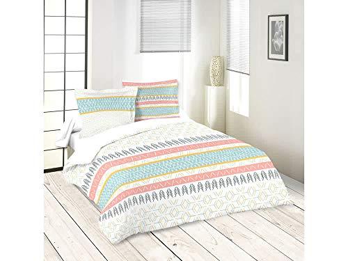 Lovely Casa ORYLIA Housse DE Couette 260X240 CM + 2 TAIES 63X63 CM, Coton, Blanc