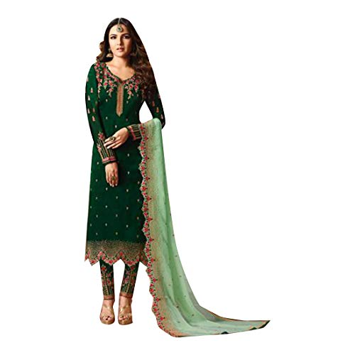 ETHNIC EMPORIUM Green Indian Pakistani Straight Salwar Kamiz Kameez Suit Bollywood Girl Top Straight Pant Wedding Suit Georgette 7886