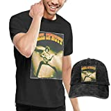 AYYUCY Camisetas y Tops Hombre Polos y Camisas, Dingtai Phil Lynott Men's Short Sleeve T Shirt and Adult Washed Cowboy Hat