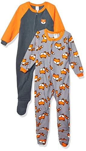Gerber Boys' Toddler 2-Pack Blanket Sleeper, Orange/Grey Fox, 3T