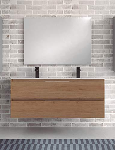 Juego de Mueble de Baño Modelo Toscana Porcelana, Conjunto formado por Mueble de Baño Estilo Madera Color Nebraska Ancho 120cm, Lavabo de Porcelana con Doble Seno y Espejo a Juego