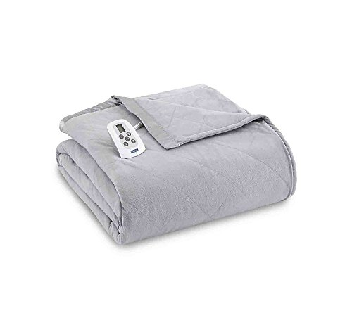 Shavel Home Products Micro Flannel Solid Electric Heated Blanket, Greystone, King/Cal-King