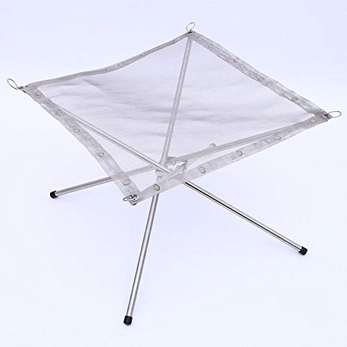 COMOOC Portable Fire Pit for Camping, Medium Collapsible High Temperature Resistant Steel Wire Mesh 16.5 Inch Camping Fire Pit Foldable Easy to Fold-Silver