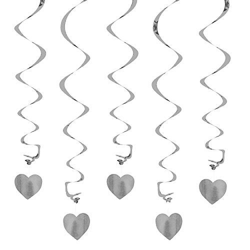 Oblique Unique® Deckenhänger Spiral Girlanden mit Herzen - Farbe wählbar (Silber)