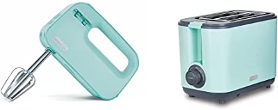 Dash Smart Store Compact Hand Mixer Electric for Whipping + Mixing Cookies, 3 speed, Aqua & DEZT001AQ 2 Slice Extra Wide Slot Easy Toaster with Cool Touch + Defrost Feature