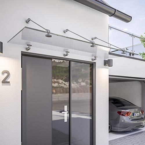 Schulte Vordach 160x90 cm Glas Haustür Überdachung Echtglas klar VSG Edelstahl rostfrei Glasvordach mit Punkthalterung Davita