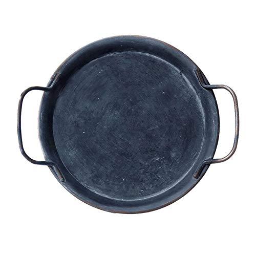 de Metal Retro redondo con asas Vintage artesanal decoración del hogar vajilla comedor para Snack almuerzo filete queso pan café té - S
