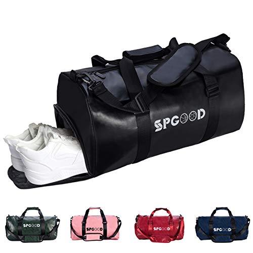 SPGOOD Sporttasche Handgepäck Wasserdicht Reisetasche mit Schuhfach und Schultergurt für Übernachtung Reisen Sport Gym Urlaub Taschen Trainingstasche Fitnesstasche Gym-Tasche (Schwarz)
