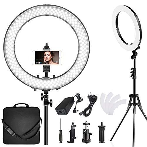 Ringlicht,Kamera licht mit stativ 19 Zoll LED ringleuchte zweifarbig 3000-5800K,dimmbares Tiktok Video-LED-Licht Kit für YouTube-Makeup,Fotografie,Videoaufnahmen,Porträt,Vlog,Selfie