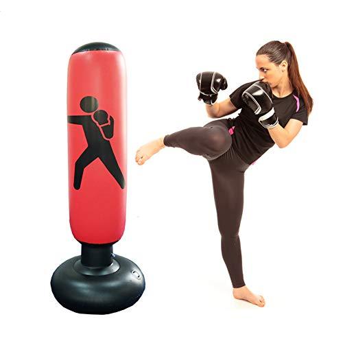 Ridecyle Aufblasbarer Fitness-Boxsack, Box-Säule Tumbler Boxsack, stark genug für MMA, Karate oder Kung Fu Training, Unisex, rot,