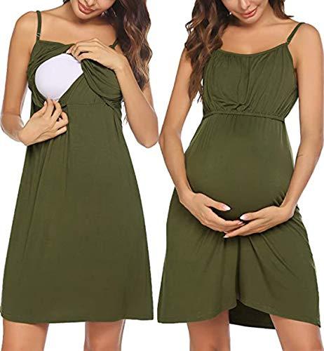 UNibelle Vestido de lactancia para mujer, sin mangas, vestido de lactancia, para verano, sin aros. Verde militar. S