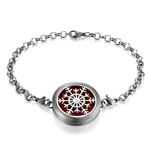 JewelryWe Schmuck Damen Aromatherapie Armband, Edelstahl Hohle Schneeflocken Aroma Öle Diffuser Duft Diffusor Locket Medaillon Charm-Armband Armkette, Silber