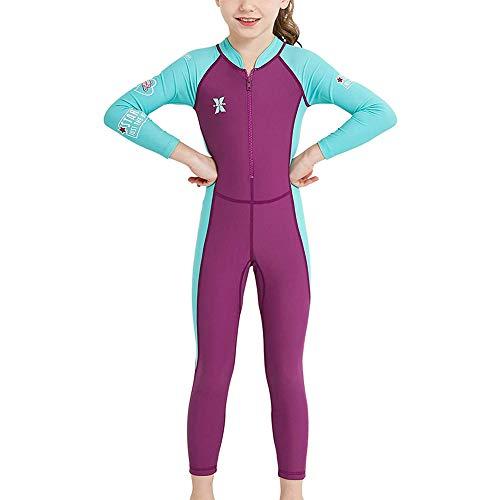 FYMNSI Kinder Badebekleidung Mädchen Neoprenanzug Langarm Taucheranzug UV-Schutz UPF 50+ Einteiler Langarm Badeanzug Shwimmanzug Wärmehaltung Bademode Schutzkleidung Surfanzug Fuchsie 7-8 Jahre