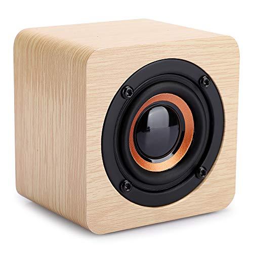 Altavoz portátil, altavoz Bluetooth inalámbrico de madera de escritorio pequeño con sonido HD, carga USB, radio FM, elegante madera de pino, altavoz para fiestas en casa, teléfono inteligente, tableta