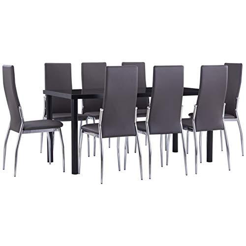 pedkit Conjunto de Mesa sillas,Mesa Salón y Sillas,Muebles de Jardin Exterior Conjuntos 6# Juego de Comedor 9 Piezas Cuero sintético Gris