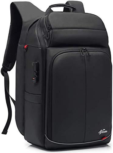 Fresion Anti-Diebstahl Business Rucksack für Herren - Laptop Rucksack mit USB Ladeanschluss, Rucksack für 17,3 Zoll Laptops, Reiserucksack Handgepäck Flugzeug für Arbeit Geschäftsreise, Schwarz