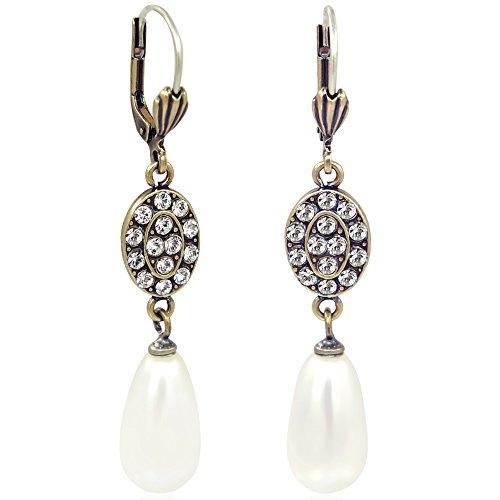 Jugendstil Ohrringe mit Kristallen von Swarovski® Perlen Gold Creme NOBEL SCHMUCK