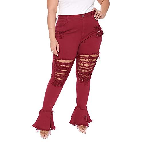 WJANYHN Pantalones Micro Acampanados De Costura De Agujero Lavado De Gran TamañO De Moda para Mujer
