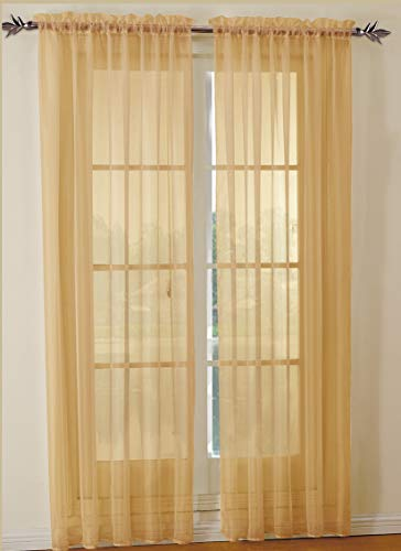 Jody Clarke 2pc Set Sheer Voile Window Treatment Rod Pocket Curtain Panels for Bedroom and Living Room Assorted Colors & Sizes Solid Stitched & Hemmed(Gold, 2PC 54 X 84)