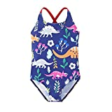 MODNTOGA Baby Girls' One Piece Dinosaur Swimsuit Animal Print Bathing Suit Ruffles Swimwear Cute Baby Bikini Beachwear (Dinosaur, 3-4T)