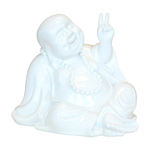 Peace Buddha Money Bank, Sitting Laughing Feng Shui Piggy Bank, White Resin, 7 Inches Tall
