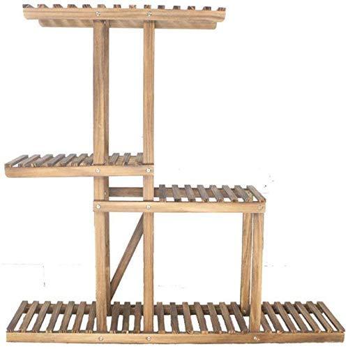 LUISONG FANMENGY - Soporte para flores de madera, para jardín, muebles de jardín, pedestales, 4 niveles, escalera interior, 100 x 25 x 96 cm, color marrón