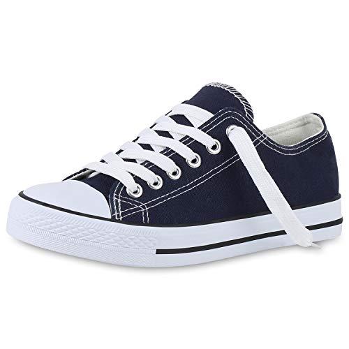 SCARPE VITA Sneakers Low Damen Canvas Schuhe Bequeme Turnschuhe Basic 141027 Dunkelblau Weiss 37