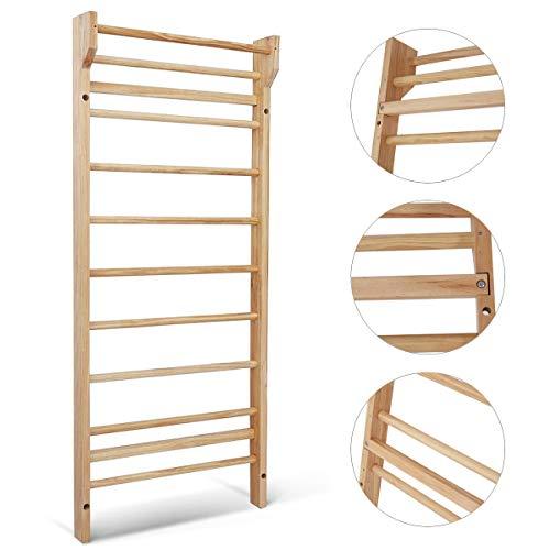 DREAMADE Sprossenwand Turnwand Massiv Holz, Sproßenwand Kletterwand Klettergerüst Heimsportgerät Turngeräte Zuhause für Kinder und Erwachsene