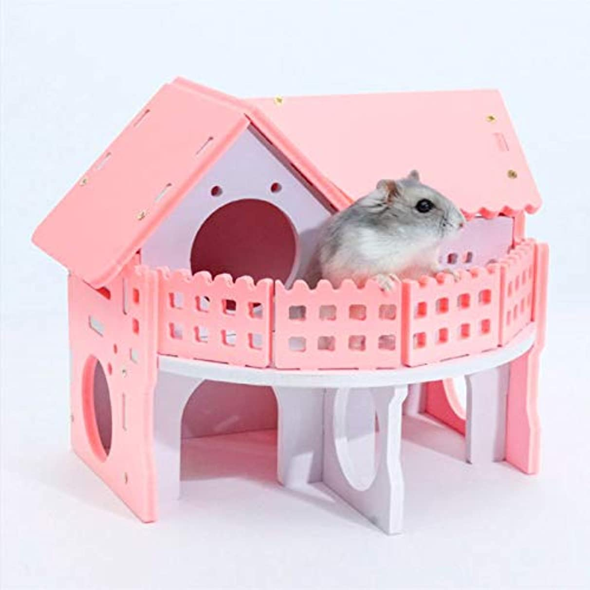 Hamster House - Pet House Villa Double Layer Balcony Nest Play Funny Hiding Place Sleeping Wooden Cage Chinchilla - Cage Stuff Floor Goldfish Chinchila Double Grey Cages Round Modern Cleaner