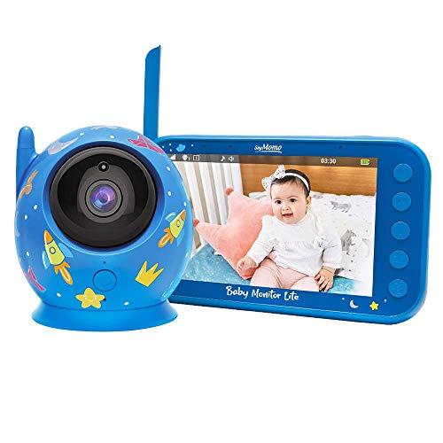 SoyMomo Vigilabebés Inalámbrico con Cámara y Audio, Bebé Monitor Inteligente con Visión Nocturna y Sensor de Temperatura (Azul)