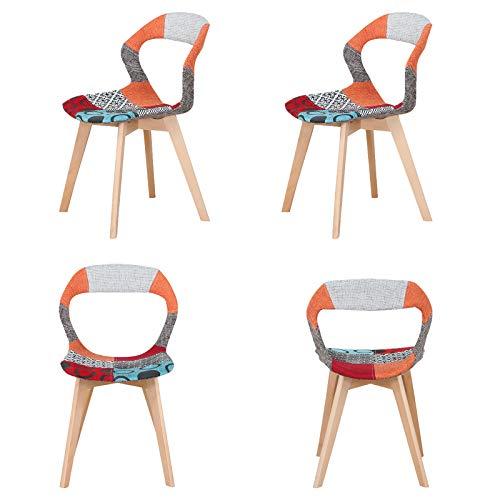 WV LeisureMaster - Set di 4 sedie da sala da pranzo in ABS con gambe in legno, sedie da ufficio per sala da pranzo, soggiorno, colore: grigio e arancione, 4 pezzi