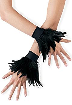 Balera Dance Costume Feather Wrist Cuffs Black OSFA