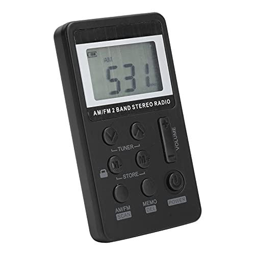 Radio Personal Am/FM, Radio portátil de Bolsillo, Mini Radio estéreo de sintonización Digital con Pantalla LCD, batería Recargable y Auriculares, para Caminar, Gimnasio, Acampar(Negro)