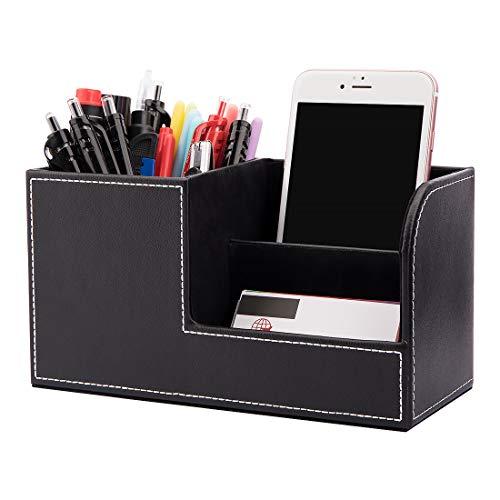 Multifunktions Schreibtisch Organizer Ordnungssystem 3 Speicherabteil PU Leder Stiftebox Stifteköcher Bürobedarf (Schwarz)