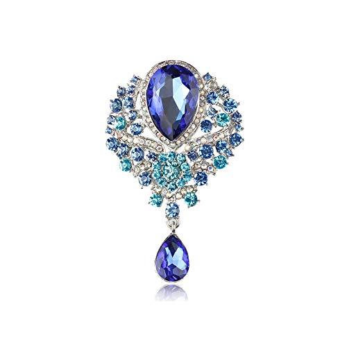 Brosche in Tropfenform, verschiedene Farben, Vintage-Stil, Glaskristalle, für DIY Hochzeit, Brautsträuße, Schmuckzubehör, 7406 Blau
