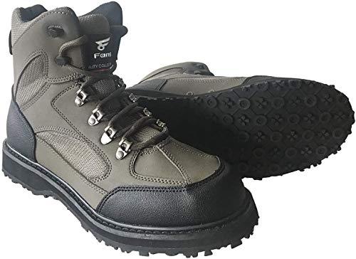 8 Fans Zapatos de pesca de caza de vadeo antideslizantes suela de goma duradera ligera Waders botas, color Verde, talla 42 2/3 EU