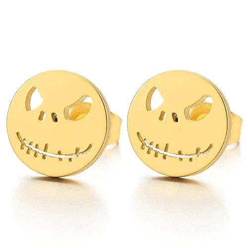 2pcs Mens Womens Boys Stainless Steel Gold Color Little Monster Stud Earrings, Rock Punk Hipster