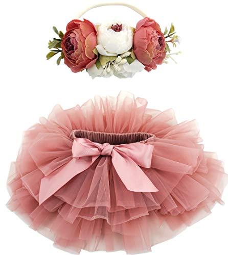 BGFKS Baby Girls Soft Fluffy Tutu Skirt with Diaper Cover,Toddler Girl Tutu Skirt Sets with Flower Headband Dusty Rose