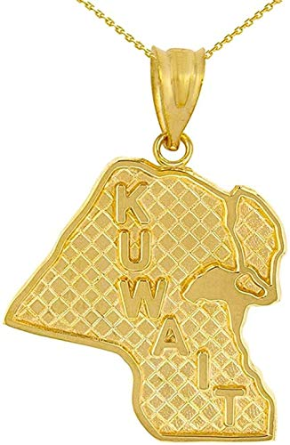 NC110 Pendant necklace Solid 14 ct Golden Country of Kuwait Geography Pendant YUAHJIGE