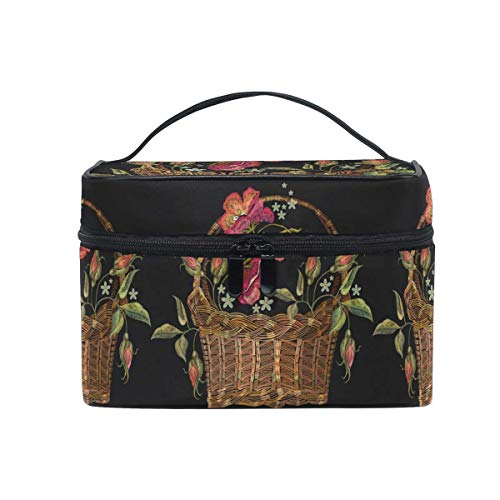 Bolso cosmético grande redondo Flores Mariposa Cesta de mimbre Estuche organizador de...