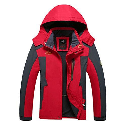 WALK-LEADER Escalade Coupe-Vent imperméable pour Homme Chaud extérieur Manteau - Rouge - X-Large