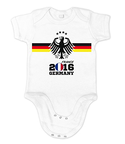 Artdiktat Baby Organic Bodysuit - Fan Strampler - EM 2016 Frankreich - Trikot Ersatz - inkl. Wunschname und Nummer Größe 66/76, weiß