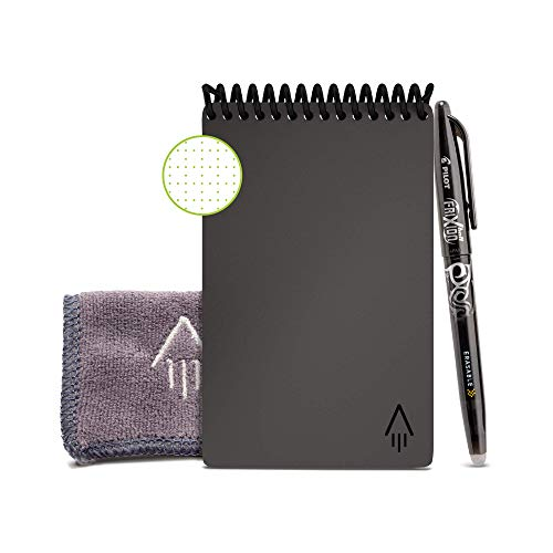 Rocketbook Smart Reusable Notebook - Dot-Grid Eco-Friendly Notebook with 1 Pilot Frixion Pen & 1 Microfiber Cloth Included - Deep Space Gray Cover, Mini Size (3.5' x 5.5')