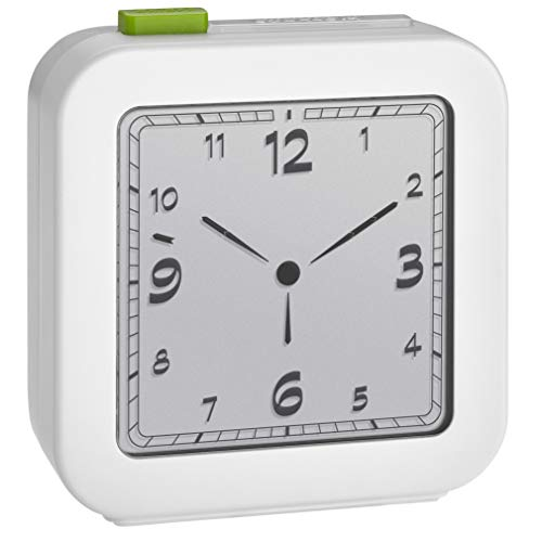 TFA Dostmann 60.2556.02, digitale wekker, analoge weergave, reiswekker, alarm met sluimerfunctie, achtergrondverlichting, wit, (L) 72 x (B) 27 x (H) 77 mm