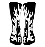 Deportes al aire libre Hombres Mujeres Calcetines altos Calcetín jugar fuego llamas tipografía impresión grunge texturas separadas capas inspiradoras azulejo longitud 19.7 '(50cm)