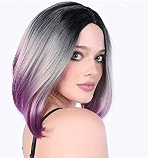 Gradient Wig Bob Mix Color Full Wig Natural Hair for Women Synthetic Wig Straight Middle Parting Hair Style Without Bangs
