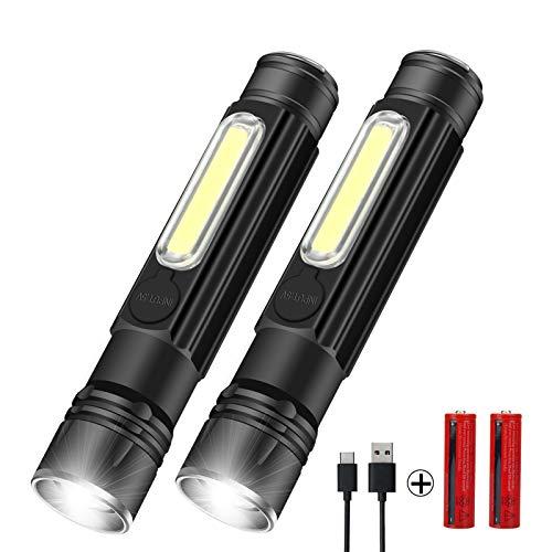 LED Taschenlampe Magnet USB Aufladbar Taschenlampen mit 4 Modi Wasserdicht Zoom Extrem Hell Handlampe für Kinder Outdoor Camping Wandern (Inklusive 18650 Batterie)