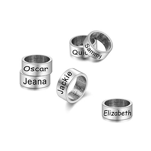 Custom Engraved 1-10 Name Bead Personalized Family ID Name Charm Bead Fit Bracelet Necklace for Men Father Grandpa Boy Boyfriend Birthday 316L Stainless Steel Silver DIY Beads